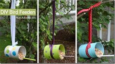 DIY Birdfeeders from a tin can, dowel, and ribbon. I'm thinking maybe two ribbons for stability?