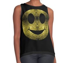 Beautiful Yellow Gold sparkles Happy Smiley Women's Contrast Tank Top by #PLdesign #sparkles #GoldSparkles #SparklesGift