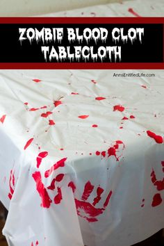 Zombie Blood Clot Tablecloth. Instead of paying big bucks for a Halloween tablecloth, make this simple Zombie tablecloth. It adds a touch of spooky to your Halloween party table. Five minutes, plus dry time, and your Halloween table has a spooktacular covering! Scary Halloween Cookies, Halloween Themed Food, Easy Halloween Decorations, Halloween Cocktails, Halloween Bags, Halloween Crafts For Kids, Homemade Halloween, Spirit Halloween, Halloween Themes