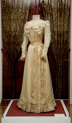 Gown owned by Empress Elisabeth of Austria, notably worn to her daughter, Marie Valerie's engagement party in 1888.