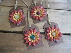 Fall Flower Gift Tags Set of 4 Brown Gold Rust by SnowNoseCrafts, $3.50