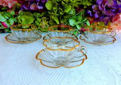 4 Beautiful Vintage Moser Bohemian Glass Cups & Saucers ~ Clear ~ Gold Gilt #Moser