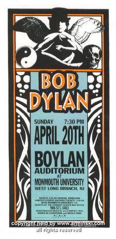1997 Bob Dylan at Monmouth handbill by Mark Arminski (MA-9713)