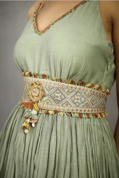 Shop Torani - Accessories Chanderi Embroidered Waist Belt , Exclusive Indian Designer Latest Collections Available at Aza Fashions Indian Gowns Dresses, Indian Fashion Dresses, India Fashion, Stylish Dress Designs, Stylish Dresses, Kurti Neck Designs, Blouse Designs, Indian Skirt, Hand Work Blouse Design
