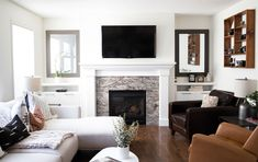 Custom cabinetry on either side of a fireplace is great for extra storage for blankets, books, remotes, photos, etc. Media Room Design, Wall Design, Blanket Storage, California Closets, Media Wall, Custom Cabinetry, Media Center, Tv Unit, Extra Storage