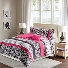 Hot Pink & Black - Zebra, Damask, Polka dot print