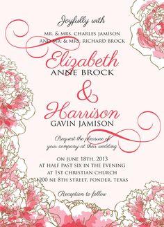 PRINTABLE Wedding Invitation Suite DIY - Pink Peony Wedding Collection on Etsy, $35.00