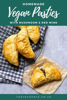 These vegan pasties with mushroom, lentils and red with are filling, easy to make and deeply delicious. Use ready made pastry or make your own! #vegan #TheVegSpace Vegan Party Food, Vegetarian Recipes Dinner, Delicious Vegan Recipes, Vegan Food, Dinner Recipes, Egg Free Recipes, Baby Food Recipes, Vegan Dishes, Food Dishes