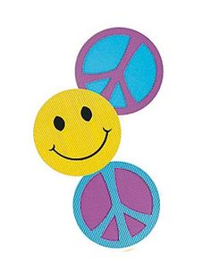 Each Retro 60's Cut-outs are one sided and measure 18 inches in diameter. You will receive an assortment of smiley face and peace sign Retro Cut-outs.