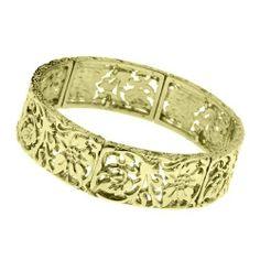 """Little Grecian Brass Lily Bracelet 1928 Jewelry. $22.00. Measures: 7"""" around x 3/4""""W"""