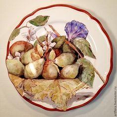 """Тарелка фарфоровая """"Груши и вьюнок"""" - васильковый,тарелка,Тарелка декоративная"""