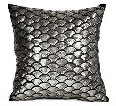 Gunmetal Sequin Pillow Cover Embroidered Waves Sashiko Pillow Case Grey Black Cushion Throw Pillow Accent Pillow Toss Pillow Multi Size - Pillows Case - Ideas of Pillows Case - Silver Gunmetal Sequin Pillows Embroidered Waves by AmoreBeaute Gold Accent Pillows, Red Pillows, Toss Pillows, Decorative Throw Pillows, Glam Pillows, Nautical Pillows, Black Cushions, Sequin Pillow, Textiles