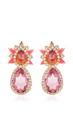 Galaxy Gold-Plated Swarovski Crystal Earrings in Orange by Shourouk Now Available on Moda Operandi