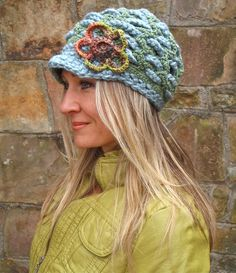 green SLOUCHY beanie crochet Slouch hat FLOWER cap....CUTE!
