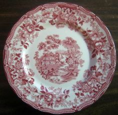 Decorative Dishes - Red Pink Toile Chinoiserie Swan Roses Vintage Plate M, $24.99 (http://www.decorativedishes.net/red-pink-toile-chinoiserie-swan-roses-vintage-plate-m/)