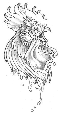 Cock Head by Mutated-Sushi on DeviantArt Tattoo Sketches, Tattoo Drawings, Drawing Sketches, Art Drawings, Chicken Drawing, Chicken Art, Rooster Painting, Rooster Art, Animal Sketches