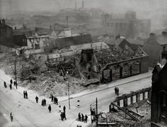 York street and Great Patrick Street, 4/5th May 1941. The Belfast Blitz, Northern ireland.