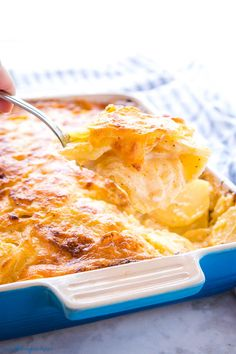 Homemade Scalloped Potatoes are a simple from-scratch potato side dish! Learn how to make them here for an easy holiday side dish! Homemade Scalloped Potatoes, Scalloped Potato Recipes, Easter Side Dishes, Holiday Side Dishes, Potato Sides, Potato Side Dishes, Homemade Cheese Sauce, Cheesy Sauce, Easy Cheese