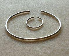 Handcrafted Texturised SilverPlated Bracelet & Ring Set, Boho,Minimal Jewellery, Spiritual Jewellery, Wirework Rings, Classic Jewelry, Gypsy by BeadedDelightsByStef on Etsy
