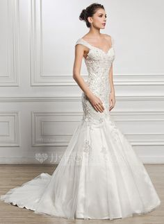 [US$ 249.99] Trumpet/Mermaid Sweetheart Court Train Tulle Wedding Dress With Beading Appliques Lace Sequins