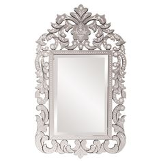 Howard Elliot Collection Allan Andrews Regina Clear Glass and Wood Venetian Mirror (Size)