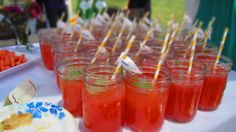 Super cute strawberry lemonade drinks at my girlfriend's bridal shower party!