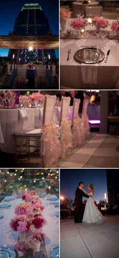 love the silver chargers on the table - and the beautiful chair covers!