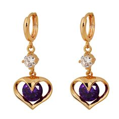 36mm 18K Gold Plated Fashion Shining Sweet Heart Shape Inlaid Zircon Ladies Girls Copper Drop Earrings Rose Gold Earrings, Drop Earrings, Fashion Earrings, Fashion Jewelry, Heart Shapes, 18k Gold, Jewelry Gifts, Copper, Jewelry Design