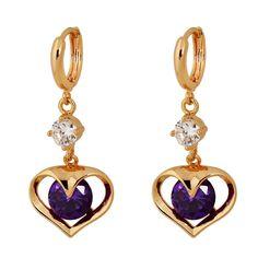 36mm 18K Gold Plated Fashion Shining Sweet Heart Shape Inlaid Zircon Ladies Girls Copper Drop Earrings