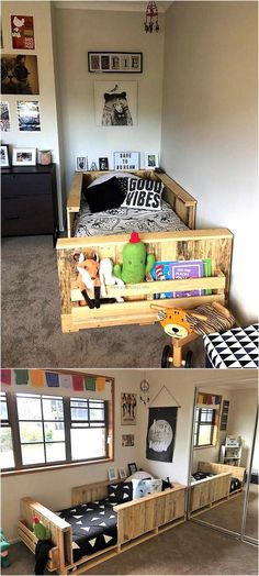 Kid's room is as necessary to decorate as every other room of the home, so if anyone needs something to fulfilling the bedding need; here is the idea of creating wood pallet bunk bed for kids with the place to store the toys and books.
