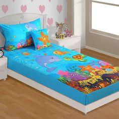 Swayam Digital Blue & Red Baby Bed Sheet Set - FabFurnish.com