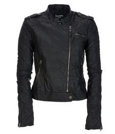 Faux Leather Quilted Sleeve Moto Jacket - Aeropostale