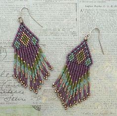 Native American Fringe Earrings - Purple & Turquoise