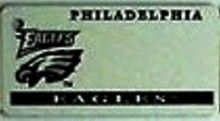 """This is an NFL Philadelphia Eagles Team License Plate Key Chain or Tag. An excellent and affordable gift for an avid NFL fan! The key chain is available with engraving or without engraving. It is a standard key chain made of durable plastic and size is approximately 1.13"""" x 2.25"""" and 1/16"""" thick."""