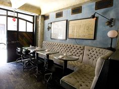 industrial chic interior of smith & mills restaurant in new york city with button tufted upholstered dining benches. Steampunk Interior, Steampunk House, Deco Restaurant, Restaurant Design, Restaurant Seating, Industrial Restaurant, Restaurant Interiors, Restaurant Ideas, Cafe Design