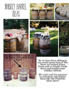 Whiskey barrel ideas for weddings -- this is SO us! Just need to find these in Louisiana....