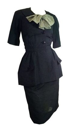 Stylish Little Black Dress with Peplum and Bow Trimmed Jacket circa 1960s
