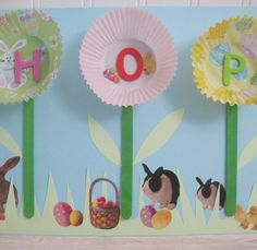Easter Craft for Kids: Spring Art Sign A use for all sorts of things, old cupcake holders :D  Easter, easter crafts, easter rabbit, easter eggs, easter basket, awesome, cute, cool