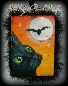 Halloween Moon, Halloween Pictures, Halloween Stuff, Vintage Halloween, Halloween Pumpkins, Halloween Crafts, Halloween Party, Moon Painting, Autumn Painting