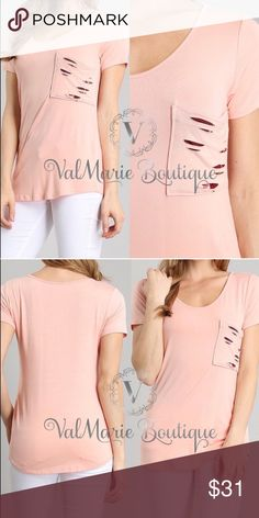 MEGA SOFT Peach Destroyed Pocket Tshirt 🇺🇸MADE IN USA - MEGA SOFT SOLID SHORT SLEEVES TOP WITH SHREDDED FRONT POCKET with hidden Floral design behind pocket 95% POLY 5%. FITS TTS S(2-4) M(6-8) L(10-12) price is firm unless bundled.  Perfect for Easter Memorial Day spring break Coachella festival wedding vacation lounging date night anniversary birthday present gift comfortable sexy cute top ValMarie Boutique Tops