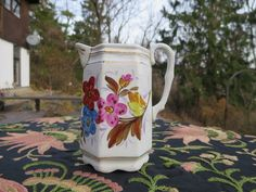 Vintage Handpainted Porcelain Creamer Pitcher Floral Red Pink Blue Yellow White Footed Country Kitchen Decor by NewOxfordVintage on Etsy