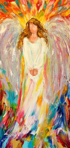 Original oil painting #Angel of Hope abstract by Karensfineart