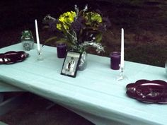 Backyard setting where glass jars can be used.  You can decorate any room or outdoor. Each vase was $1.00 at the Dollar Tree, The ribbon on them were $2.99 at Michael's craft store, and the glass gems inside them were $1.00 (clear ones) at the Dollar Tree, $2.99 (green and lavender ones) from Michaels.  The gems were mixed up in each jar.  The flowers were from Michaels (40% off) roughly $18.  You can use any type and style of flower for cheaper than that.