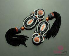 Clip on Tassel Long Black Gray Soutache Earrings-Long Unique Black Cooper…