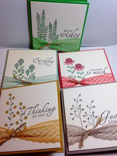 Stampin Up 2016 Sale A Bration Flowering Fields stamp set using In Colors. Sentiments from an old set.