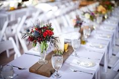 Use a piece of wood to elevate floral arrangements and add a rustic touch.