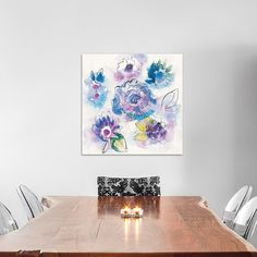 """East Urban Home Bright Floral VII Painting Print on Wrapped Canvas Size: 18"""" H x 18"""" W x 0.75"""" D"""