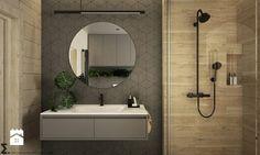 Drewno + szarość - Średnia łazienka na poddaszu w bloku w domu jednorodzinnym, styl skandynawski - zdjęcie od ELEMENTY