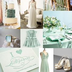 Mint wedding inspiration board.