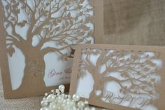 Laser Cut Invitation with laser cut RSVP card by FoxfordAtelier